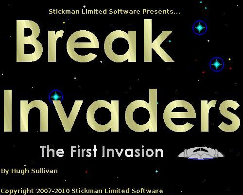 Break Invaders Title Screen